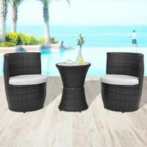 vidaXL Garden Furniture Set 5 Piece Poly Rattan Wicker Black Outdoor Dining - $203.99