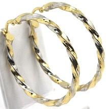 Boucles D'Oreilles Cercle or Blanc et Jaune 750 18K, Tressé, Diamètre 3.... - $347.31