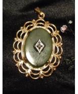 Vintage Jade Pendant set in Vermeil Gold. - $40.00