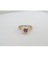 Vintage Sterling Silver Amethyst & CZ Ring Size 7 - $25.00