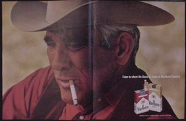 1970 Marlboro Man 2 pg Cigarette Ad Come to where the flavor is Marlboro... - $12.97