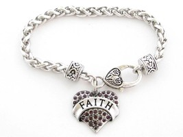 Faith Purple Crystal Heart Charm Silver Lobster Clasp Bracelet Jewelry - $14.72