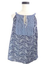 Womens M Tommy Hilfiger Blue Floral Print Boho Country Sleeveless Top - $15.85