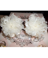 BABY GIRL HANDMADE IVORY SATIN & LACE BAREFOOT SANDALS - $7.99