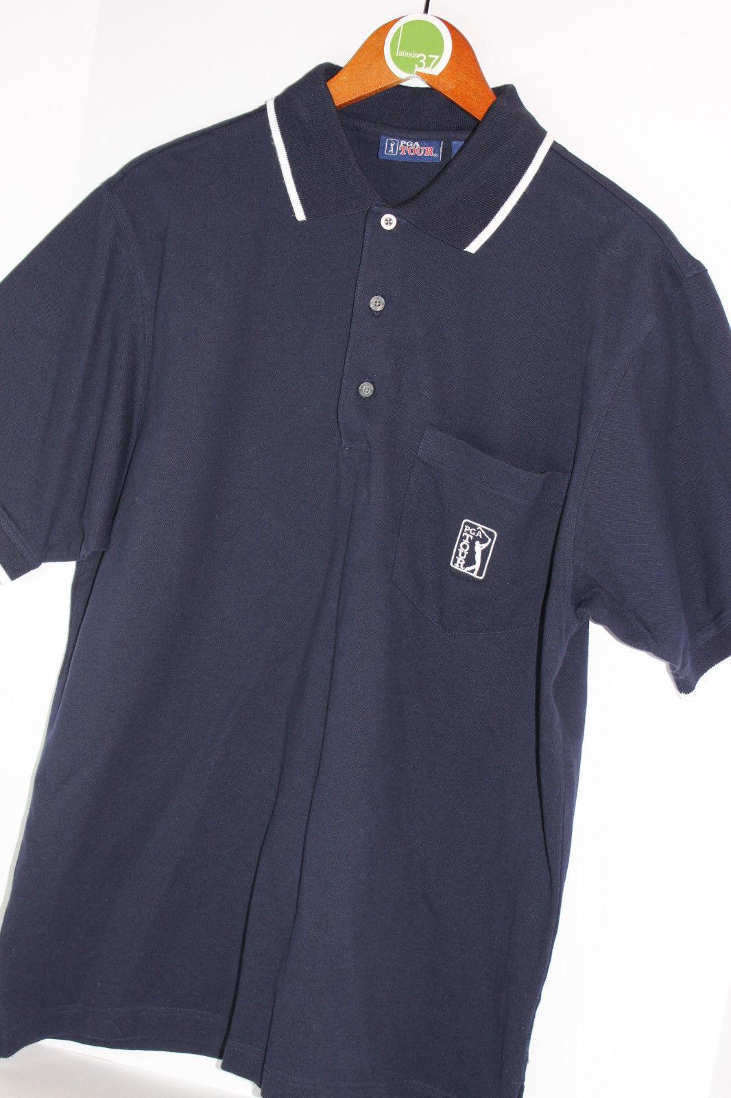pga tour polo golf shirt embroidered logo short sleeve