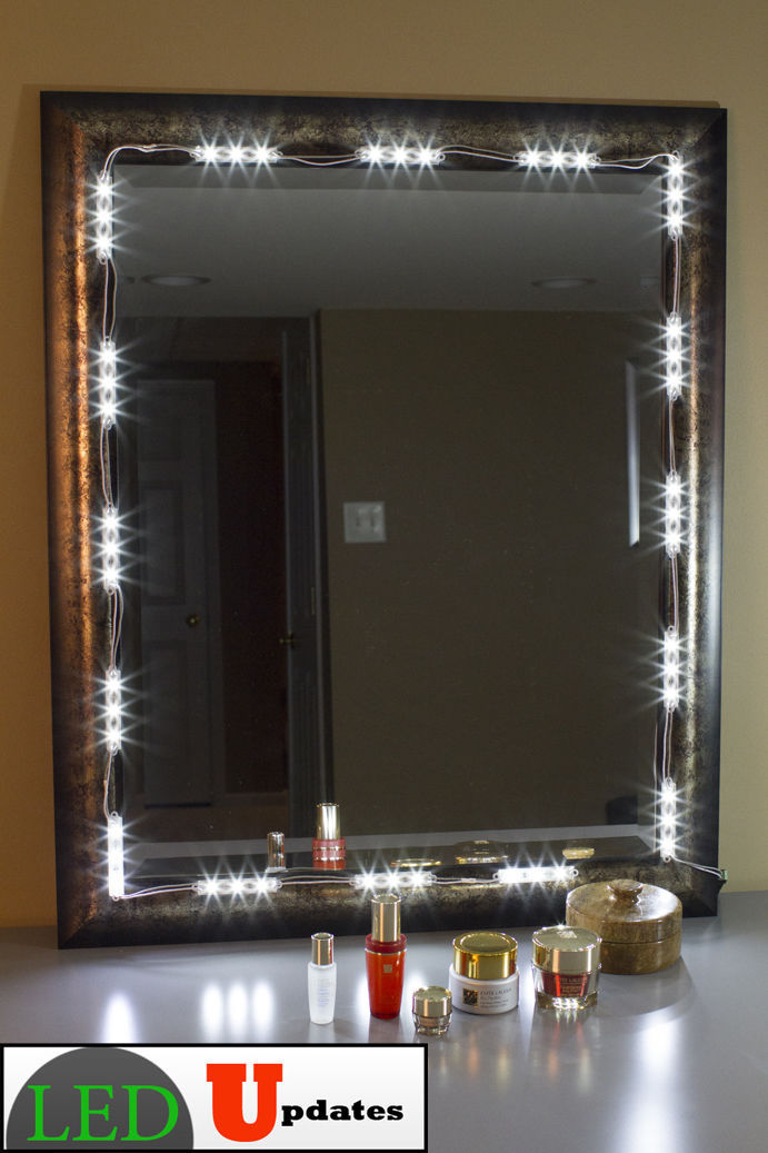 Lighted Vanity Mirror Kit : 10ft White LED light for Vanity Make-up mirror with UL AC Power adapter kit - Other