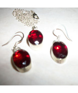 14mm RED Garnet   Sterling Silver  EARRINGS +PE... - $37.99