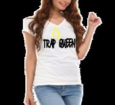 "Trap Queen,""Fetty Wop"" Queen,Crown Ladies V-Neck T-Shirt - $12.00"