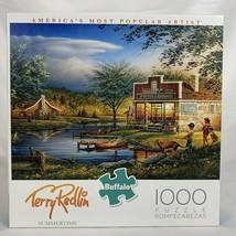 Buffalo Jigsaw Puzzle Terry Redlin Summertime Lake Cabin 1000 Pieces - $27.91