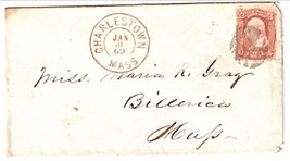 1869 Charlestown, MA Discontinued/Defunct Post Office (DPO) Postal Cover - $7.99