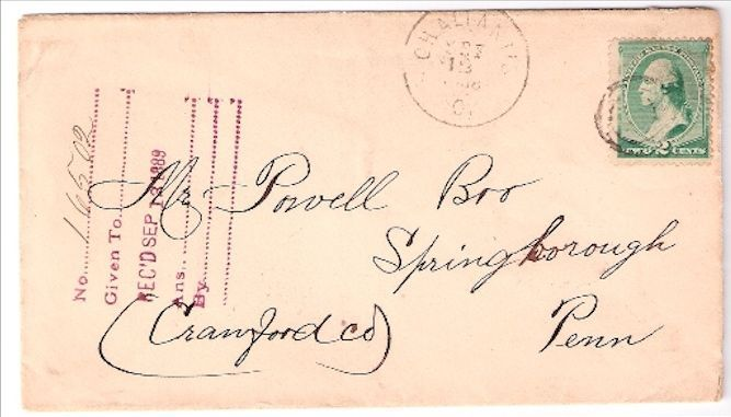 1889 Chalfonts, OH Discontinued/Defunct Post Office (DPO) Postal Cover
