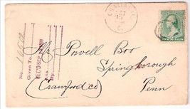 1889 Chalfonts, OH Discontinued/Defunct Post Office (DPO) Postal Cover - $7.99