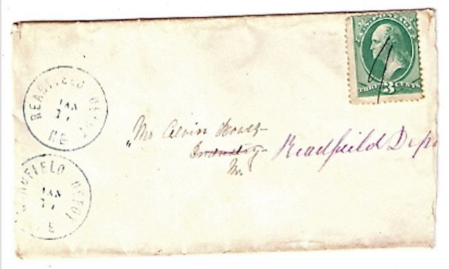 c1875 Readfield Depot, ME Discontinued/Defunct Post Office (DPO) Postal Cover