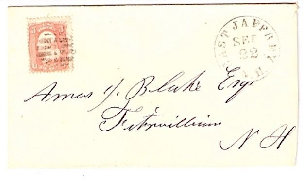 c1861 East Jaffrey NH Discontinued/Defunct Post Office (DPO) Postal Cover
