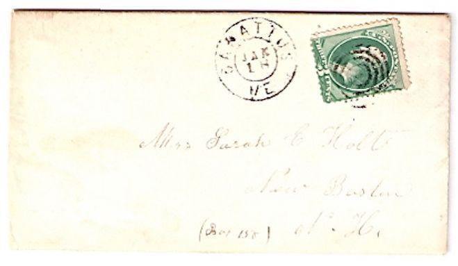 1871 Sabatus, ME Vintage Post Office Postal Cover