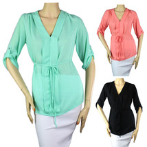 V-Neck CHIFFON 3/4 Sleeve  BLOUSE Pleated Front, Tie Waist Candy Ladies ... - $19.99