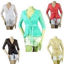 Floral LACE Wrap 3/4Sleeve BLOUSE w/ Tie, Lining,Stretch Cocktail Dressy... - $21.99