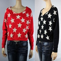 American Flag Star Long Sleeve DOLMAN Top  Vintage  Boat Neck Casual Shi... - $17.99