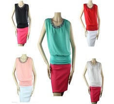 Rhinestone Neck Sleeveless Chiffon Blouse Pleated, Elastic Hem, Lining Top Sml - $19.99