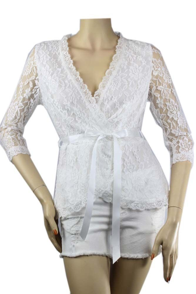 Floral LACE Wrap 3/4Sleeve BLOUSE w/ Tie, Lining,Stretch Cocktail Dressy Top SML