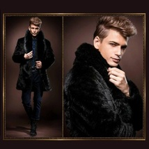 Mens Luxury Imitation Thick Black Mink Lg Lapel Collar Faux Fur Long Trench Coat