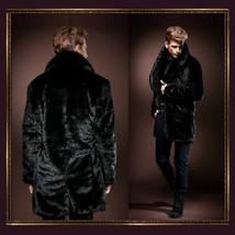 Mens Luxury Imitation Thick Black Mink Lg Lapel Collar Faux Fur Long Trench Coat image 2