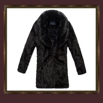 Mens Luxury Imitation Thick Black Mink Lg Lapel Collar Faux Fur Long Trench Coat image 3
