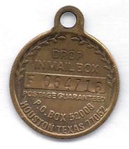 Vintage Key Ring Fob EXXON TRAVEL CLUB Brass Drop in Mailbox Houston Texas - $9.99