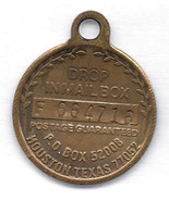 Vintage Key Ring Fob EXXON TRAVEL CLUB Brass Drop in Mailbox Houston Texas - $9.99