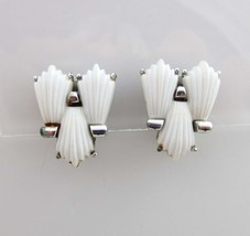 Coro Earrings Silver Clip On Backs Thermoset Thermoplastic White 9029 - $11.88