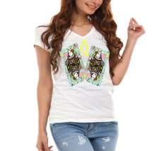 Queen of Hearts Floral Cards Ladies V-Neck T-Shirt - $12.00