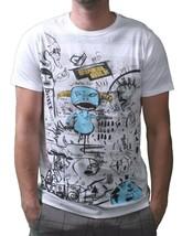 Dunkelvolk Hommes Blanc Optique Péruvien Rue Art Chrome Bleu Monster T-Shirt Nwt