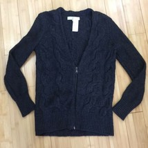 NWOT Loft Ann Taylor cardigan sweater zip up wool knitted gray sz MP Petite - $29.00