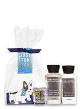 Bath & Body Works Graphite Gift Set Hand Sanitizer Body Lotion Wash Shampoo - $17.42