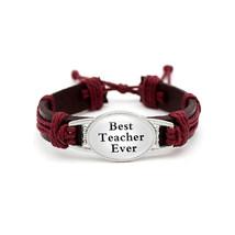 Glamorousky Fashion Teacher Red Handmade Cowhide Bracelet - $27.98