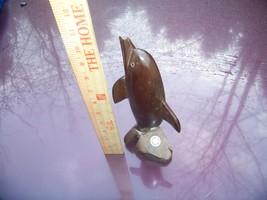 10 inch Brown Wooden Dolphin Bahia Kino Mexico - $5.00