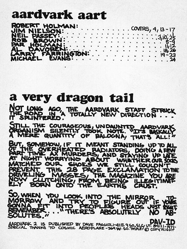 Aardvark #2, Dave Faggioli, 1971, scarce Underground Comix