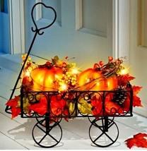 Lighted Fall Pumpkin Wagon Display Thanksgiving Table Centerpiece Autumn... - $49.45