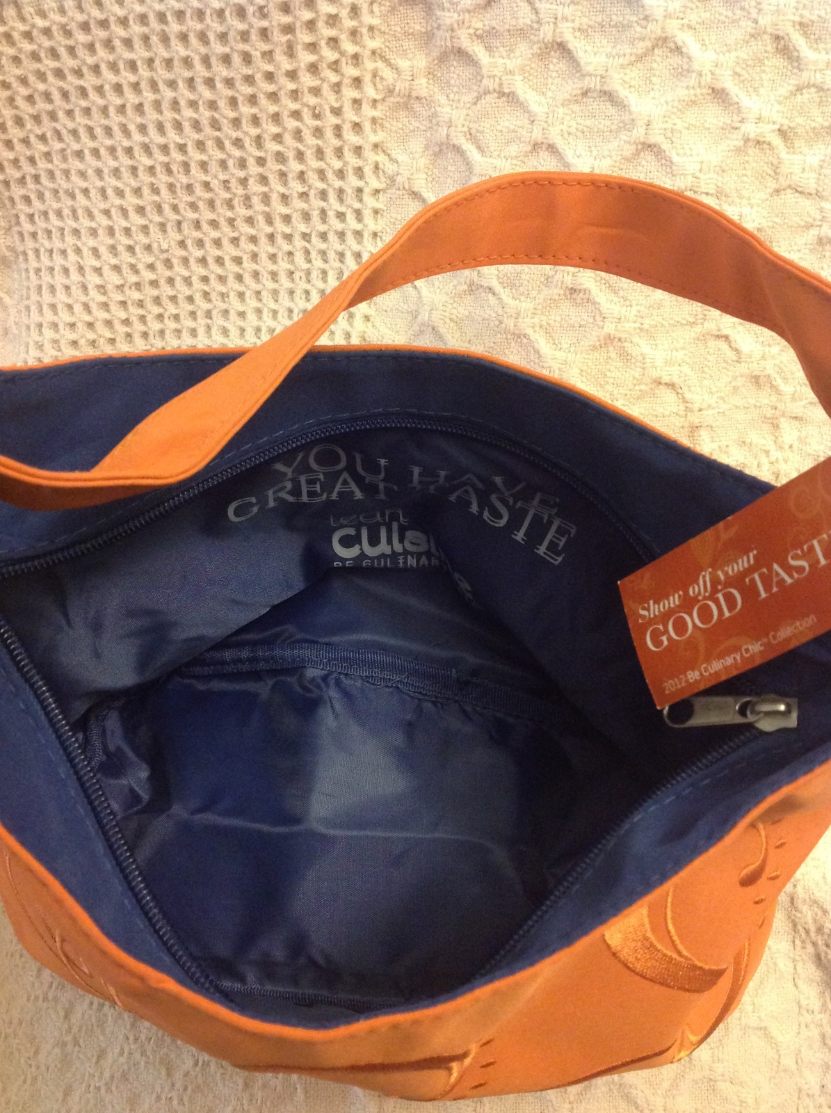 Lean Cusine Lunch Tote Orange Scrolled Embroidery w tags