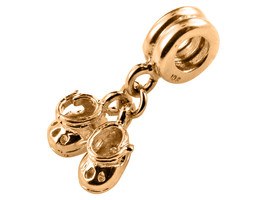 9K Yellow Gold Handmade Baby Shoes Dangle Charm Fits Europ EAN Bracelets - $144.05