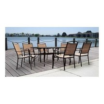 Patio Dining Set Outdoor Furniture Table Sets Large Garden 7 Piece 6 Chairs - $358.99
