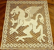 The White Dragon - Fantasy Art Filet Crochet Im... - $43.00