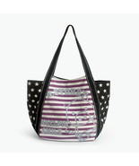 [Purple Smile Pig] Canvas Shoulder Tote Bag - $37.99