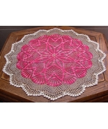 Pink Tulip Ring - Round Table Topper Crochet Ar... - $50.00