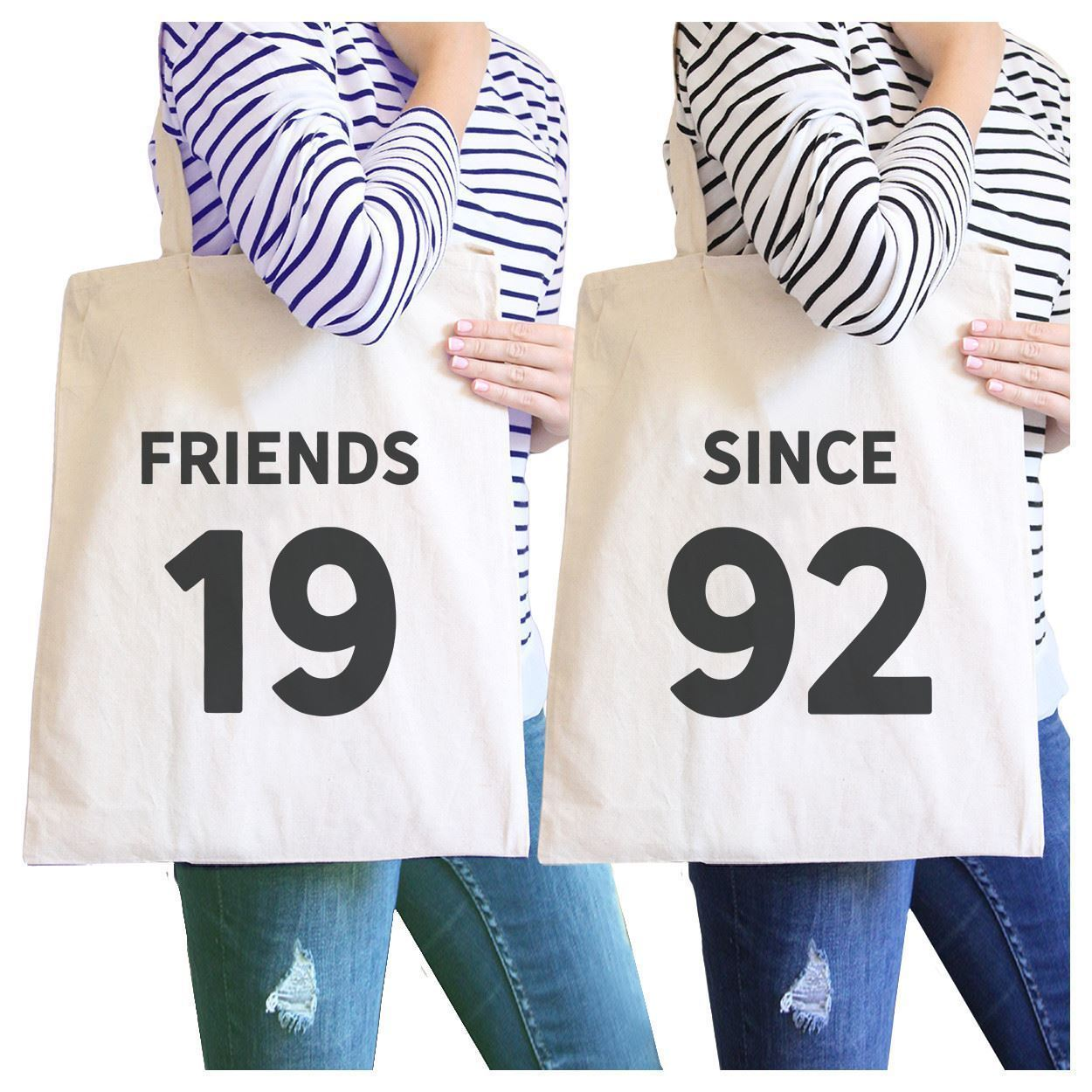 Primary image for Friends Since Custom Years BFF Matching Natural Canvas Bags