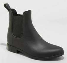 A New Day Black Chelsea Ankle Rain Boots Women's Size 10W new with Tags no box image 1