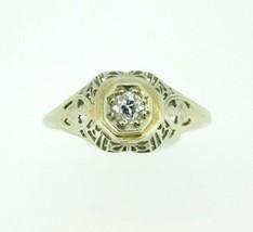 Art Deco 18k White Gold Genuine Natural Diamond Filigree Ring .16ct (#J843) - $550.00