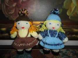Vintage Little Hand Knitted Dolls One of a Kind 6 inch - $28.85