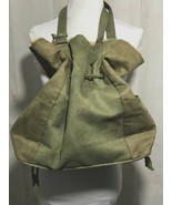 Neiman Marcus Olive Suede Purse Shearling Trim Cinches And Ties Medium Size - $55.44
