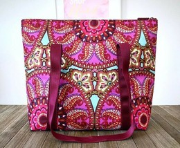 VERA BRADLEY Insulated Cooler Tote Bag Resort Medallion Pink Burgundy 14... - $64.35